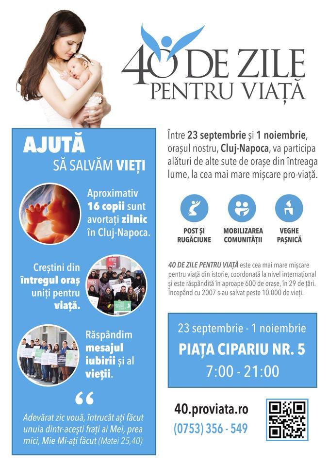 """Campania """"40 de zile pentru viață"""" revine la Cluj-Napoca"""