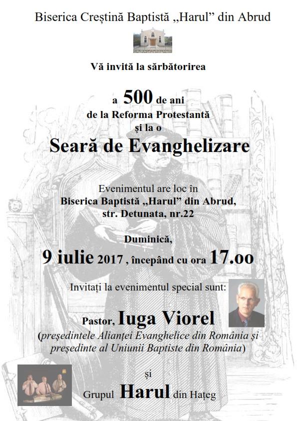"""Biserica Creștină Baptistă ,,Harul"""" din Abrud vă învită la sărbătorirea a 500 de ani de la Reforma Protestantă"""