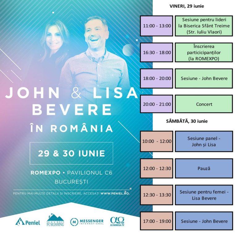 """Programul Conferinţei: """"Însetat după Dumnezeu"""" cu John şi Lisa Bevere"""