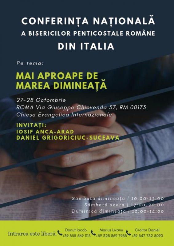 """Conferința """"Mai aproape de Marea Dimineață"""" la Roma, Italia"""