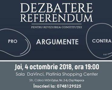 """Dezbaterea """"Referendum – Argumente Pro și Contra"""" la Cluj-Napoca"""