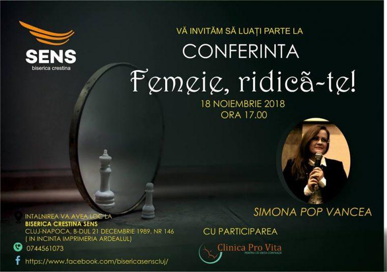 """Provocarea 2018: """"Ridică-te, femeie"""", la Biserica Sens, Cluj-Napoca"""